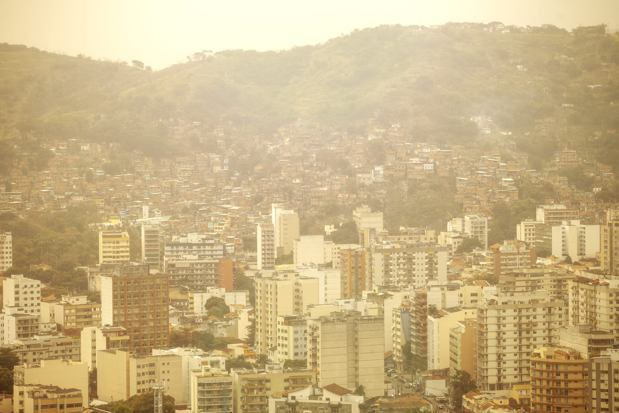 Residential buildings and the favela in the background