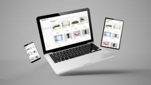 Floating laptop, mobile, and tablet 3d rendering showing online shop responsive web design