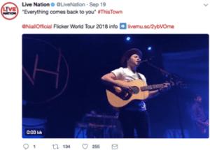 Screenshot of a Live Nation tweet