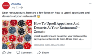 Screenshot of a Zomato facebook post about how to upsell appetizers and desserts at your restaurant.