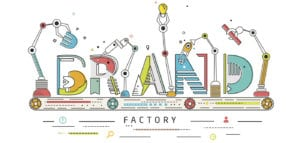 """Illustration of robotic arms assembling the word """"Brand"""""""