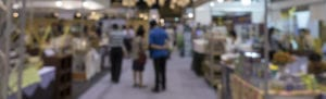 Out of focus photo of a tradeshow floor