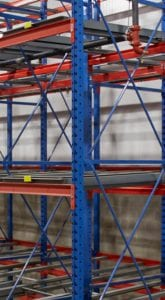 Blue and orange industrial racking