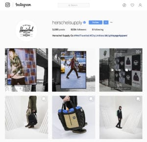 The Herschel Supply Instagram account.