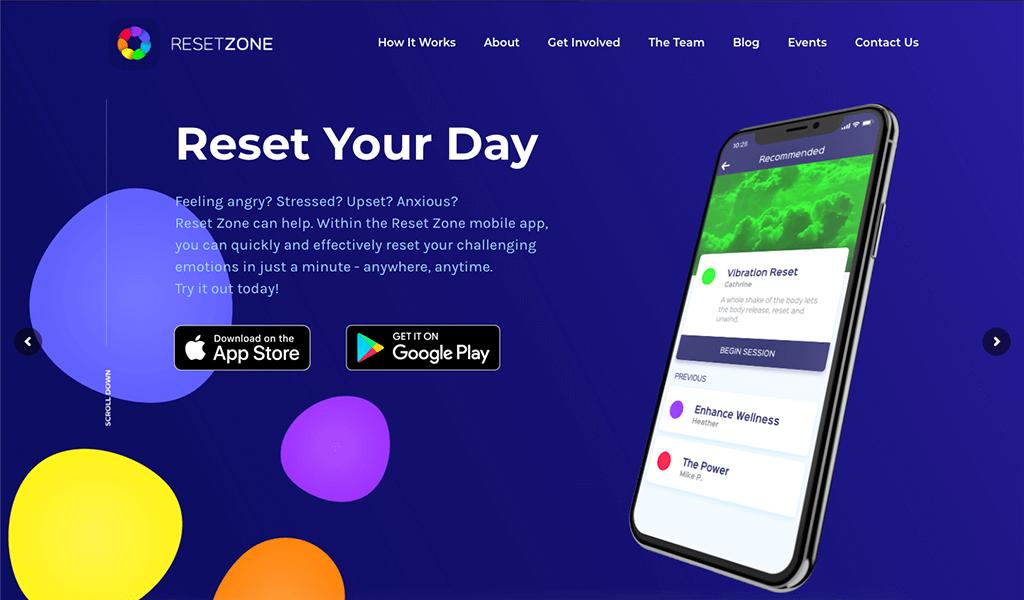 Reset Zone website screenshot