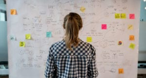Woman looking at a large board full of writing