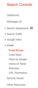 Google Search Console side menu