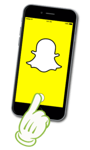 Illustration of the snapchat app on a mobile phone.