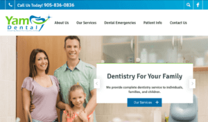 Yam Dental website screenshot