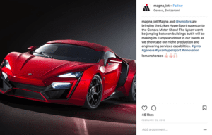 Screenshot of Magna instagram post about a sports car