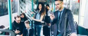 Commuters on public transit