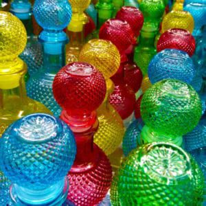 Decorative colourful glass containers