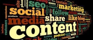 Word cloud of content marketing related words