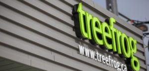 Treefrog's sign on the exterior of the office