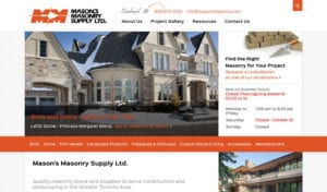 Mason's Masonry website screenshot