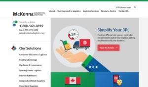 McKenna Logistics Centres website screenshot