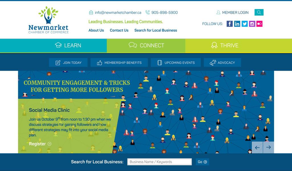 Newmarket Chamber of Commerce website screenshot