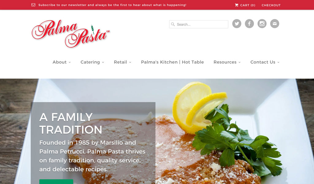 Palma Pasta website screenshot
