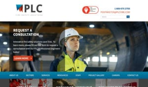 PLC Fire Safety Solutions website screenshot