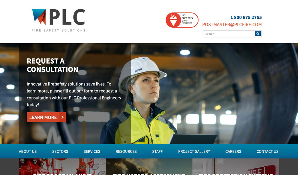 PLC Fire Safety Solutions website screenshot