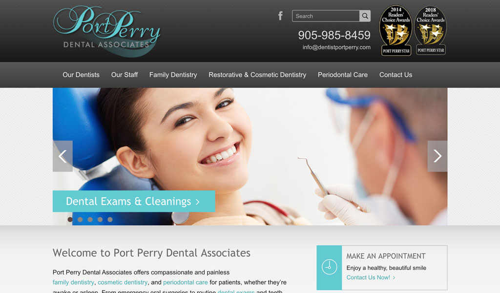 Port Perry Dental website screenshot