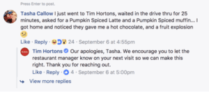 Screenshot of Tim Hortons replying to a comment on facebook from a customer that received an incorrect order.