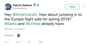 Screenshot of a tweet asking American Airlines to participate in a sale