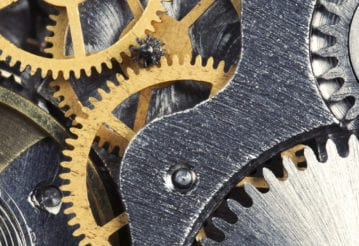 Close up of clock gears