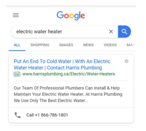 "Screenshot of a google search for ""electric water heater"""