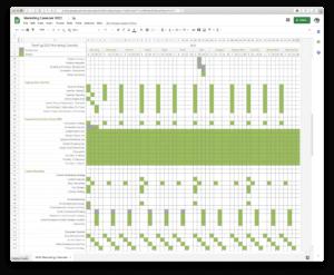 A screenshot of the marketing plan spreadsheet