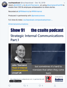 A screenshot of a tweet from C suite podcast talking about Strategic Internal Communications
