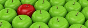 A red apple in the middle of a large number of green apples