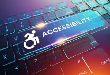"""Computer drawn keyboard with large key depicting wheelchair and word """"Accessibility"""""""